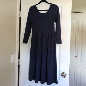 NWT Old Navy Blue Long Sleeve Midi Dress